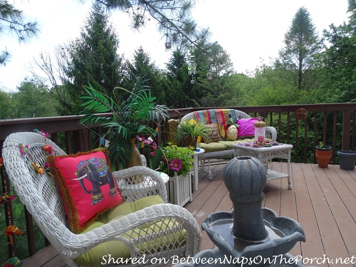 A Summer Deck with Wicker Furniture
