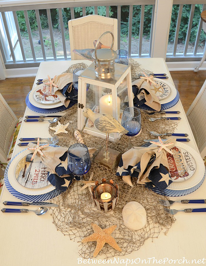 Beach Themed Table with Lighthouse Inspired Centerpiece