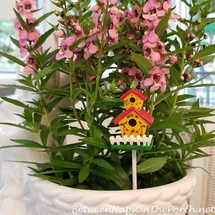 Birdhouse Stake for Flower Pot Planter