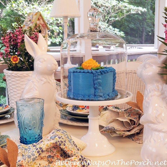 Blue Cake, Domed Cake Platter, Spring Table