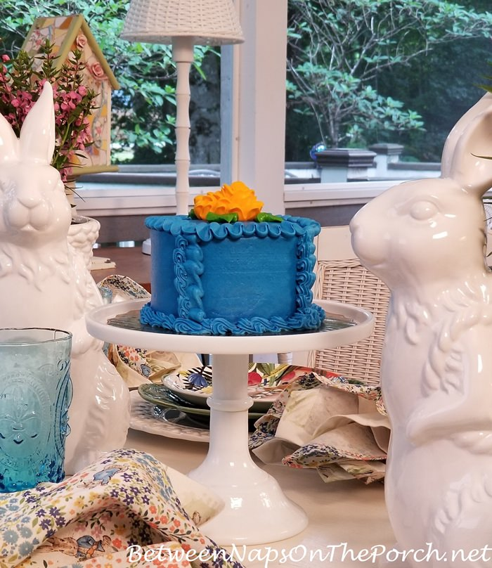 Blue Iced Cake, Spring Table