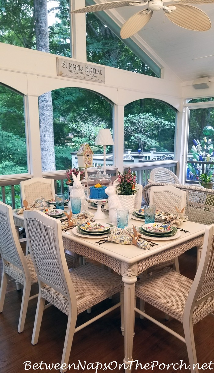 Dining on Screened-in Porch, Springtime