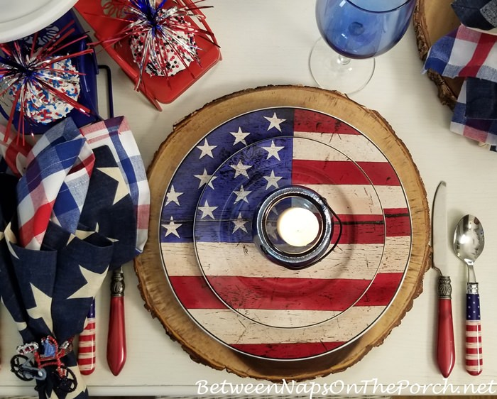 Flag Dishes, Patriotic Table Setting