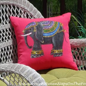 Hand-Painted Pillow for Outdoor Space