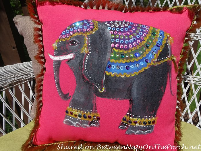 Hand-Painted and Bejeweled Pillow