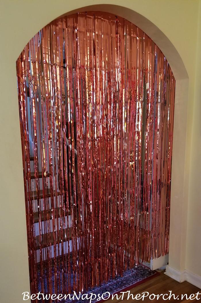 Pink Foil Fringe Curtain or Backdrop, Party Decoration