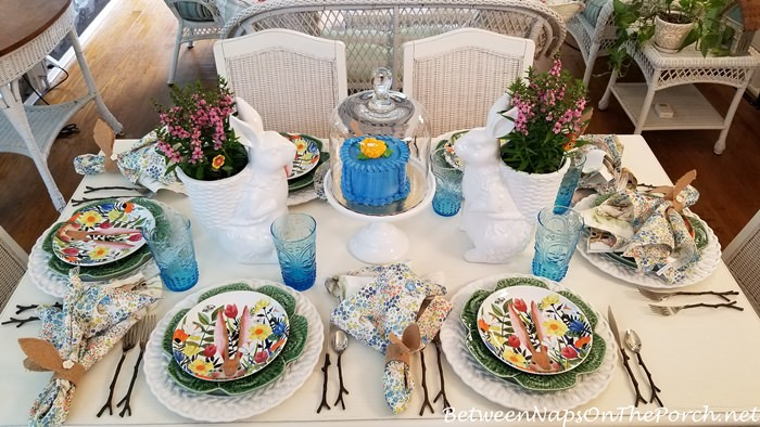 Porch Dining, Spring Bunny Tablescape