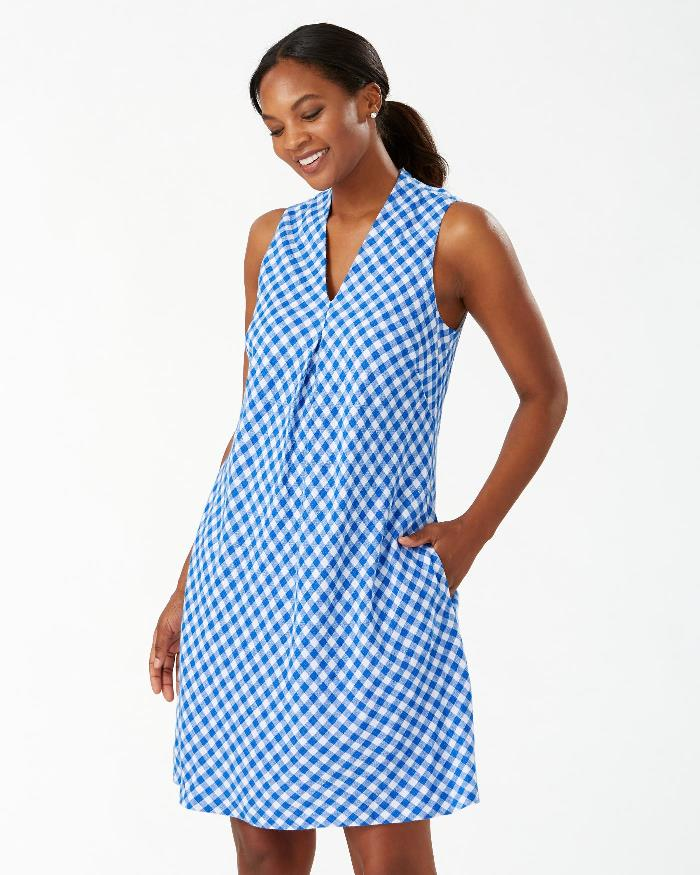 Tommy Bahama Blue Gingham Dress
