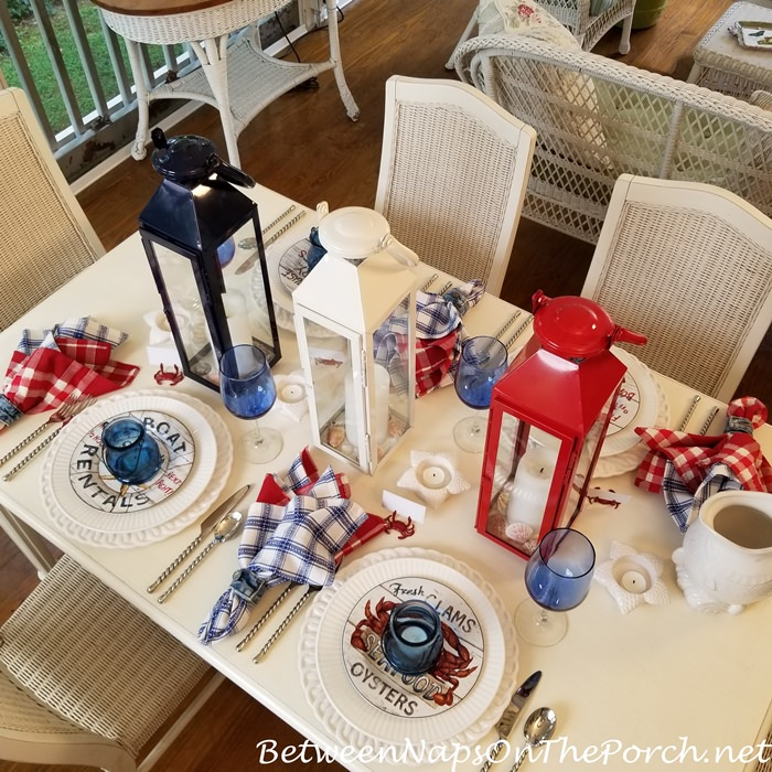 Beachy Table, Red, White, Blue Lanterns Centerpiece