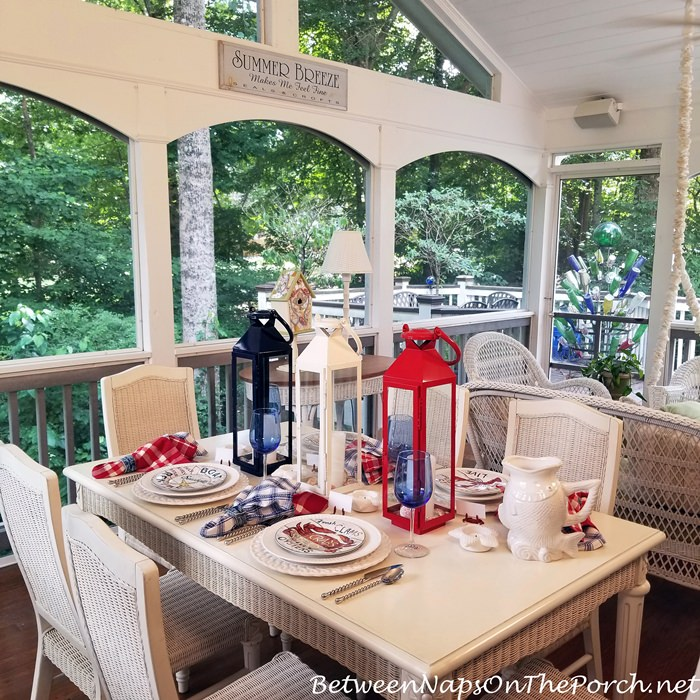 Dining on a Screened Porch, Beachy Table