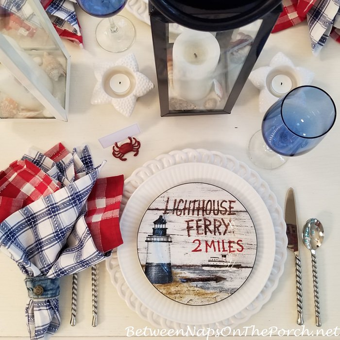 Lighthouse Plate in Nautical Place Setting