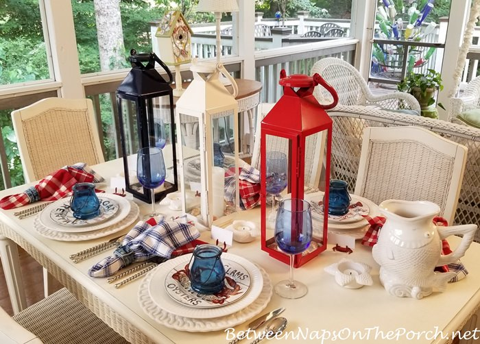 Nautical Table in Red, White and Blue