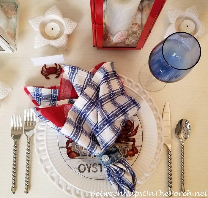 Plaid Napkins, Nautical Red, White & Blue Setting