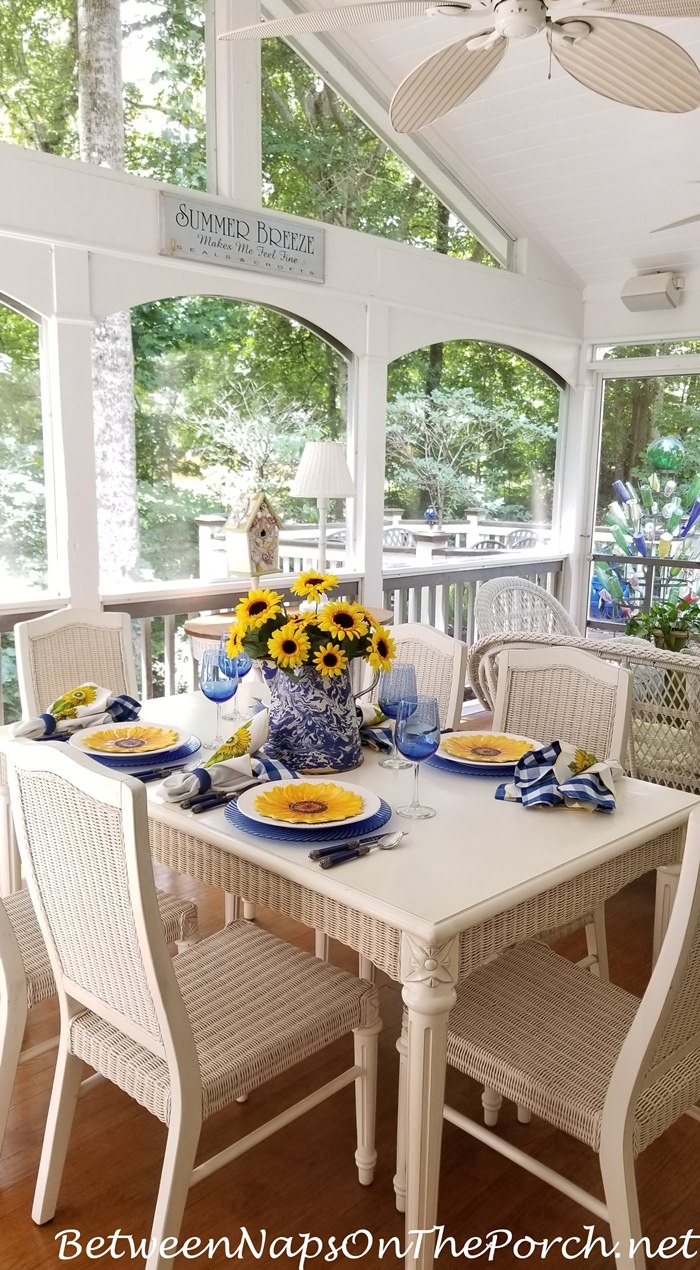 Screened Porch with Sunflower Table Setting for Summer Dining