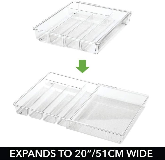 Stainless Flatware Storage, Expandable Tray to Fit Drawer