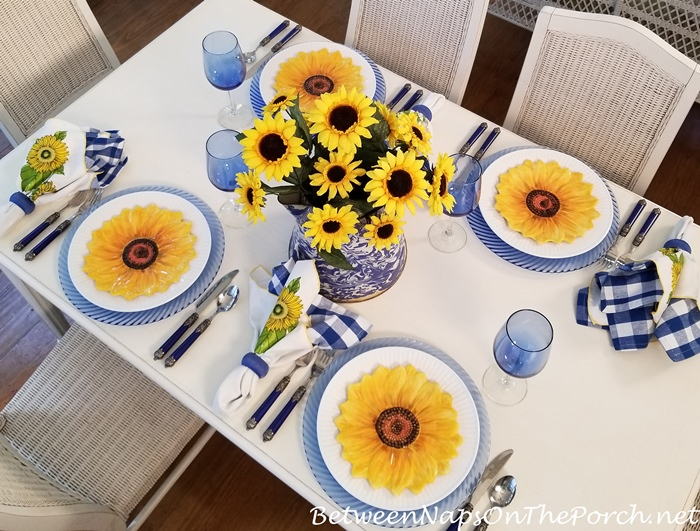 Summer Table Setting with Sunflowers