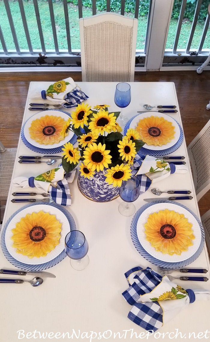 Summer Tablescape in Blue, Yellow and White