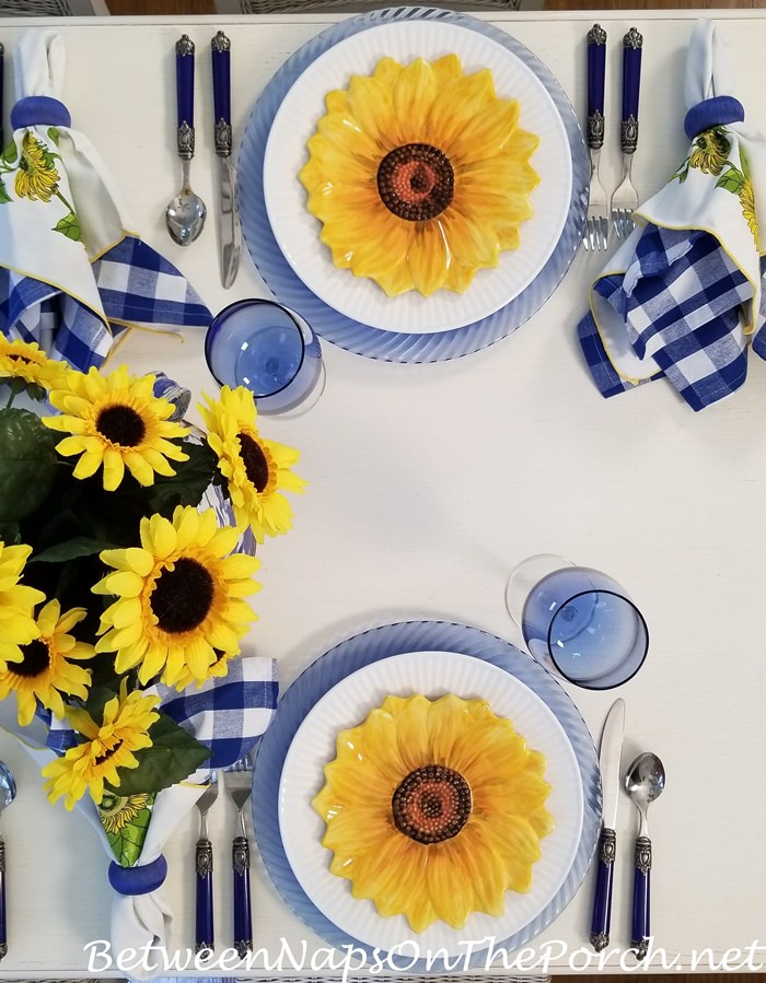 Sunflower Salad Plates, Sunflower Centerpiece