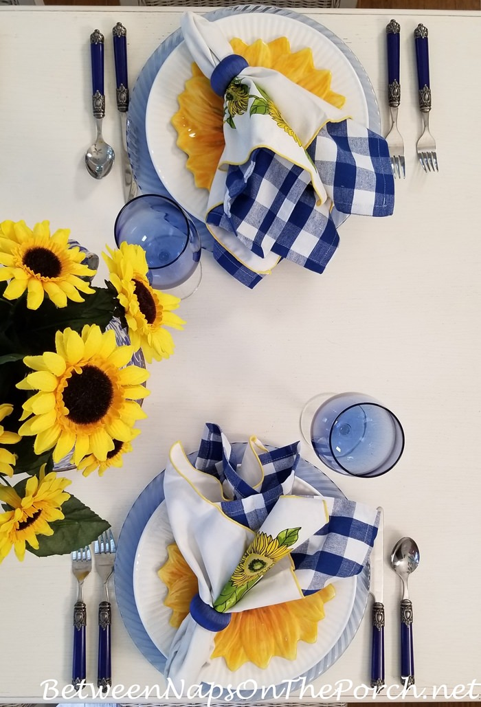 Yellow, White and Blue Table Setting