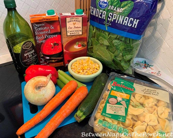 Tomato-Pepper Veggie Tortellini Soup Ingredients