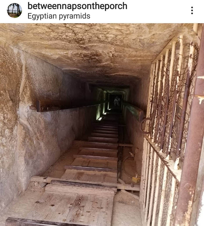 Going down into a chamber inside pyramid