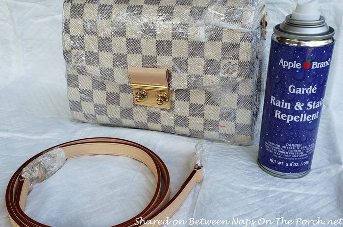 Louis Vuitton Croisette Bag Covered in Plastic, Ready for Spraying with a Water-Stain Repellent