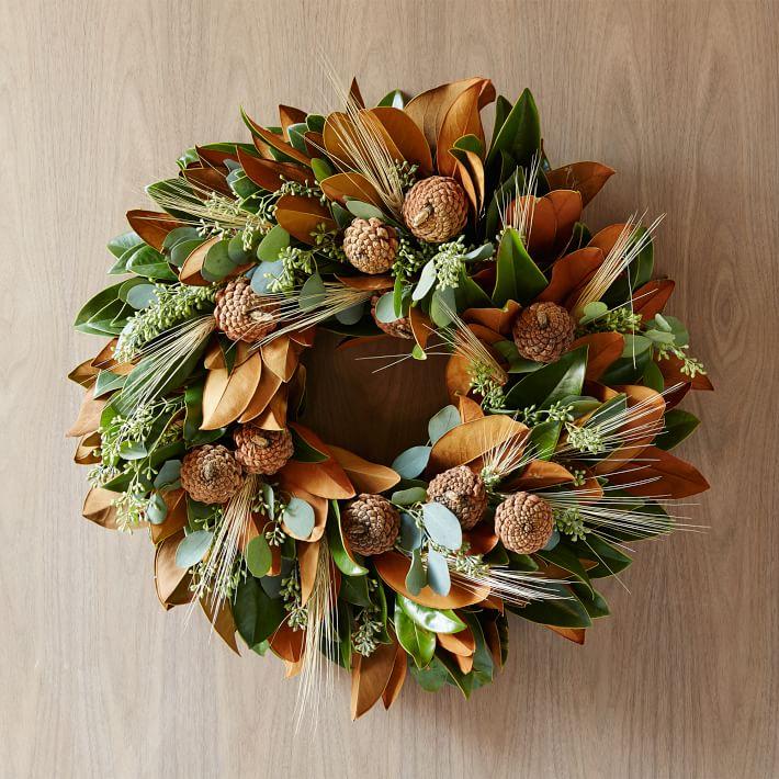 Magnolia fall wreath for door