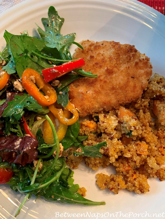 Marinated Chicken Breast with Quinoa Vegetable Melange & Arugula Salad
