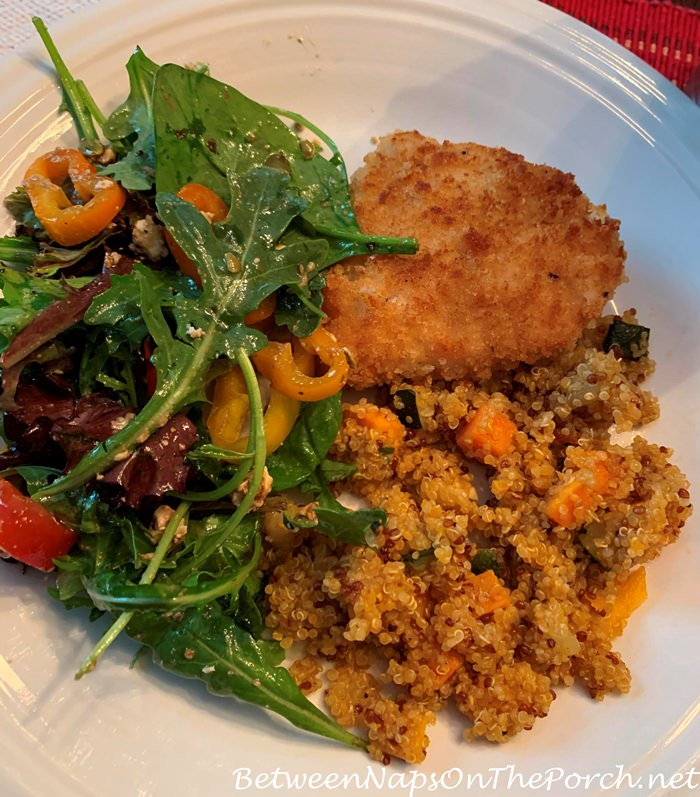 Quick, Healthy Dinner, Marinated Chicken Breast, Quinoa Vegetable Melange, Arugula Salad