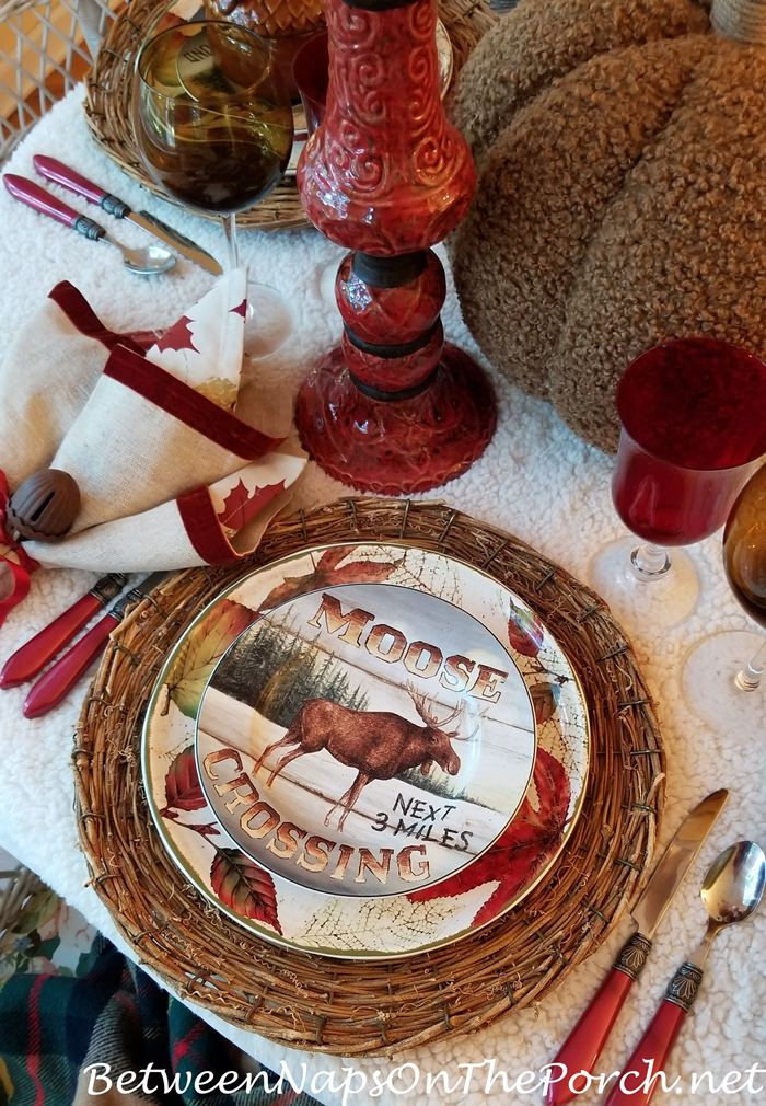 Autumn Fall Table Setting, Red Candlesticks