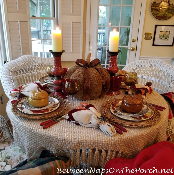Autumn Table in Red, Brown, Taupe