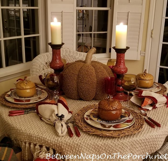 Autumn Table with Acorn Soup Tureens