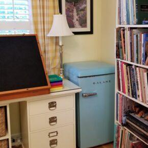 Blue Retro Refrigerator for Home Office
