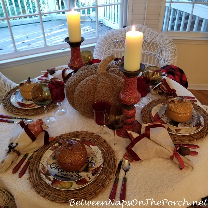Candlelit Woodsy Table with Woolly Throw Tablecloth