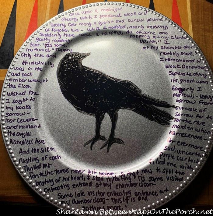 Edgar Allan Poe Halloween Chargers, Halloween Craft