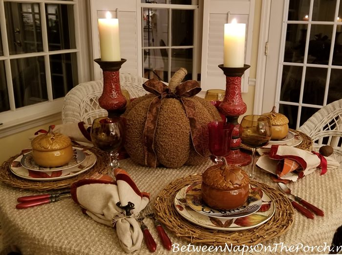 Fall Autumn Table with Woolly Pumpkin Centerpiece