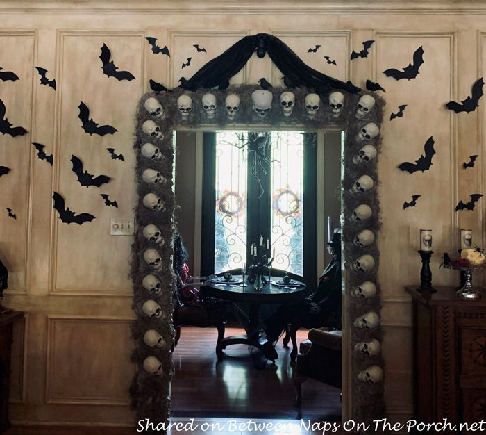 Halloween Decor Idea, Skulls Around Doorway