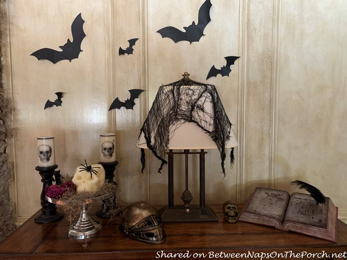 Halloween Decoration Ideas, Bats and Creepy Cloth Covering Lamp