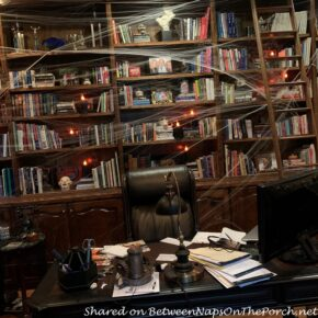 Library Decorated for Halloween