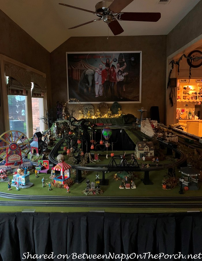 Model Train Village Decorated for Halloween