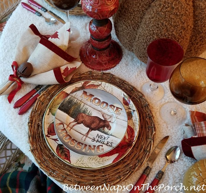 Moose Crossing Plate, David Carter Brown, Autumn Table Setting