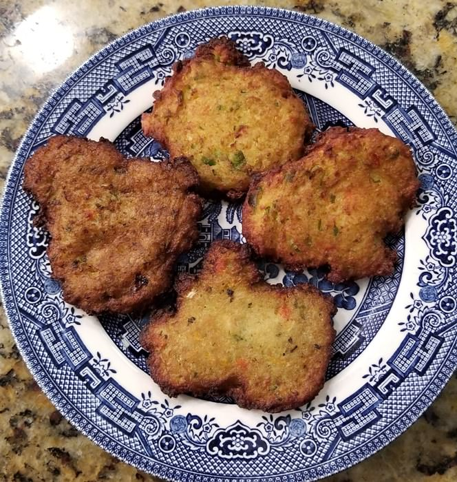 Zucchini and Vegetable Pancakes Cooked in Air Fryer