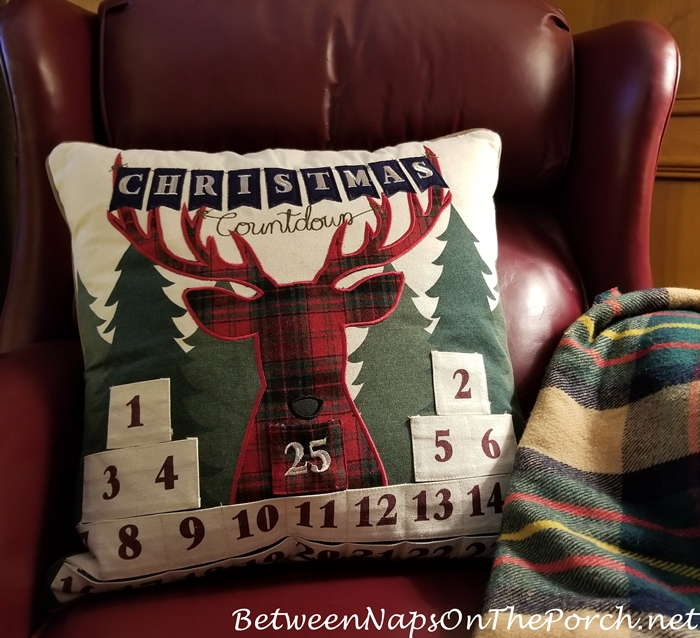 Christmas Advent Calendar Pillow with Reindeer Design