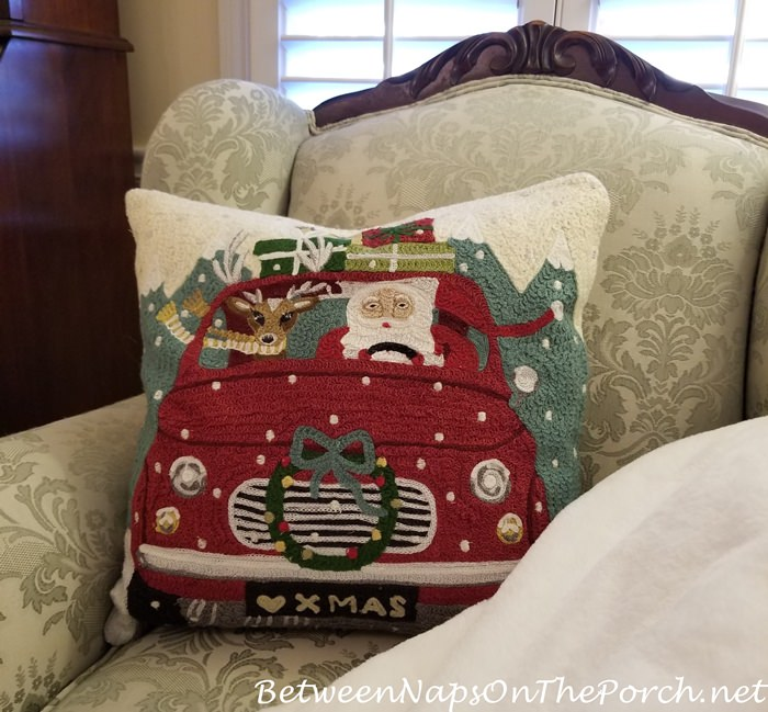 Christmas Pillow, Santa and Reindeer