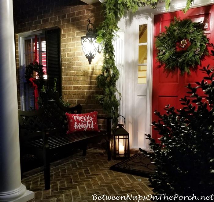 Christmas Porch, Cedar Garland, Frasier Fir Wreath