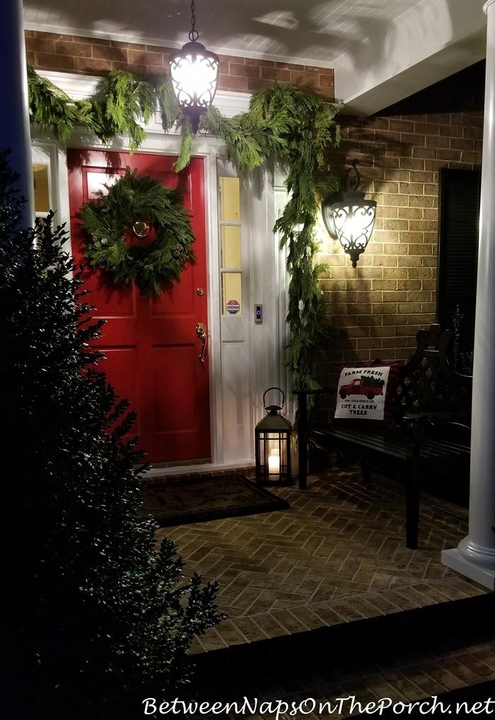 Christmas Porch Decorating, Cedar Garland, Lantern