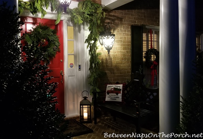 Christmas Porch at Night, Candlelight and Lanterns