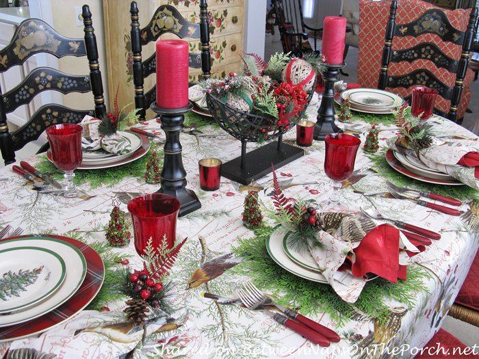 Christmas Table Setting, Bird Themed