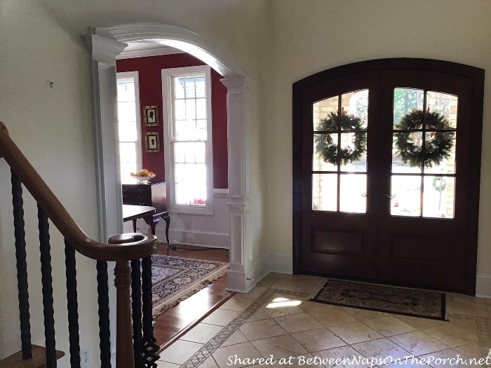 Foyer Entry Painted with Linen White by Benjamin Moore