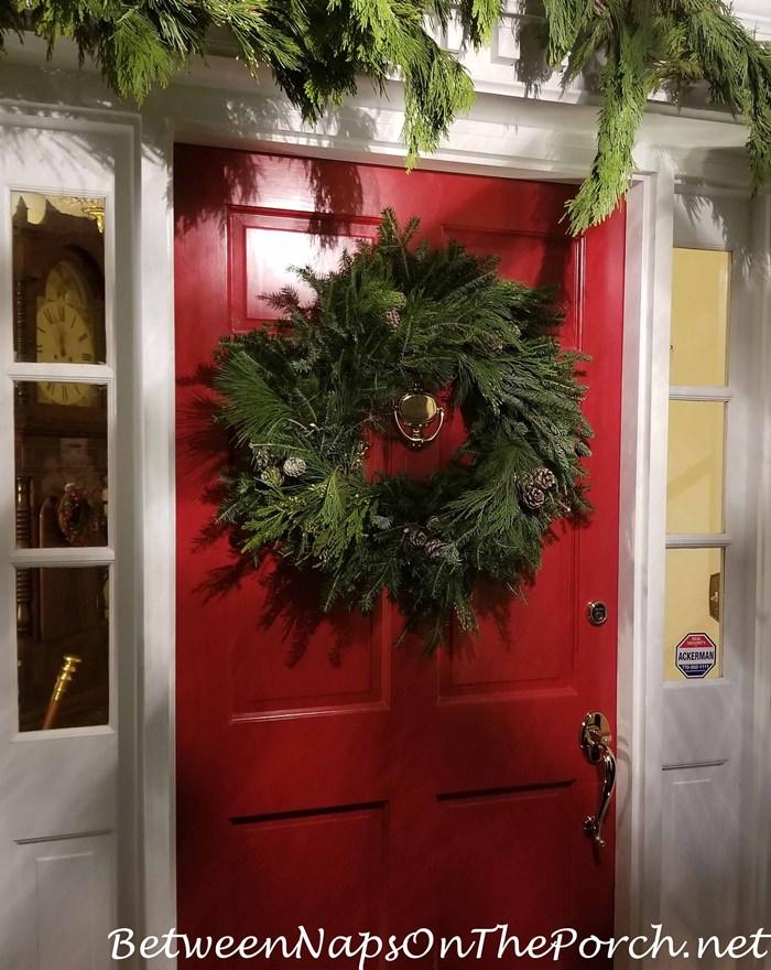 Frasier Fir Wreath on Red Door for Christmas
